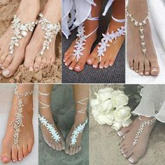 beach wedding, beach wedding shoes, foot jewelry, beach themed wedding shop wedding flowers and wedding decorations style Beach Wedding Shoes, Beach Wedding Decorations, Barefoot Wedding, Sandals Wedding, Barefoot Beach, Beach Wedding Flowers, Wedding On The Beach, Beach Theme Wedding Dresses, Beach Flower Girls