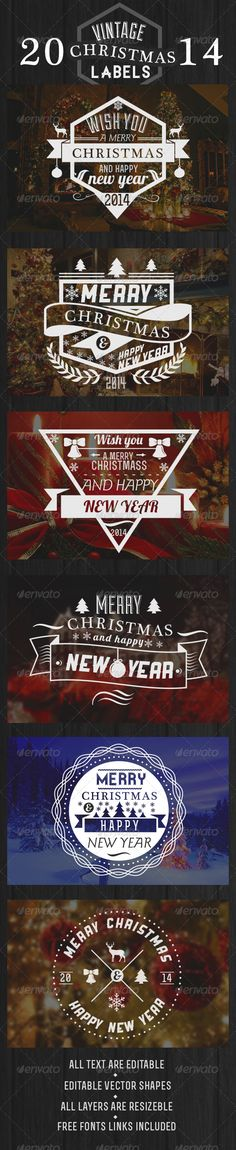 Vintage Christmas Labels #GraphicRiver 6 high quality ventage-look Christmas labels for the winter holidays.