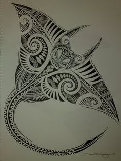 Beautiful Polynesian stingray design. Too bad I can't make out the signature. Original artist credit unknown