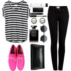 """""""brighten your day with a pop of pink"""" #skinnyjeans, striped #tshirt, pink oxfords on Polyvore."""