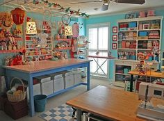 Fun Studio!  Attractive yet pleasantly messy with space & storage & more than one work surface.  LIKE!