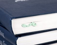 Bookmark Happy Bookworm Nature series mint  laser by CoolBookmark, $15.99