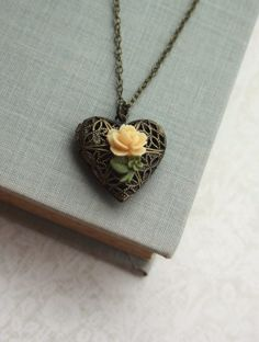 Tiny Ivory Rose Flower Rustic Wedding Inspired Heart Locket Necklace. Bridesmaids Gift. Holiday & Valentine Gift Ideas.