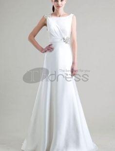 En Line Satin Bateau Halskant brudekjole med Beaded Utsmykning