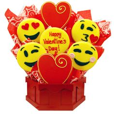 Our sweet emoji cookie bouquet is a yummy way to say Happy Valentines Day! Valentines Day Cookies, Valentines Day Treats, Valentine Day Crafts, Valentines Cakepops, Smileys, Chocolates, Biscuits, Valentine Bouquet, Iced Sugar Cookies
