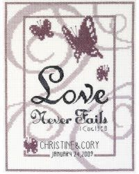 Love Never Fails cross stitch