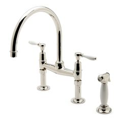 Easton Classic Two Hole Bridge Gooseneck Kitchen Faucet, White Porcelain Lever Handles and Spray