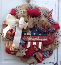 Patriotic Burlap wreath, USA, Fourth of July, Patriotic Wreath, Patriotic Crafts, Patriotic Decorations, July Crafts, 4th Of July Wreath, Burlap Crafts, Wreath Crafts, Diy Wreath, Wreath Ideas