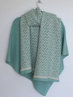 Generous+Fair+Isle+Pattern+Merino+Lambswool+Long+Scarf+Cream+and+Mint, £55.00