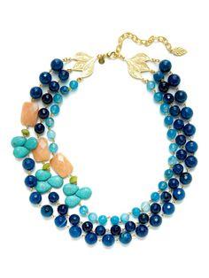 Blue Agate & Jade Bead Bib Necklace