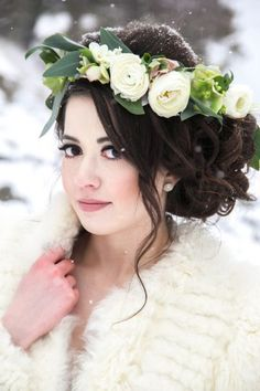 Winter Wedding Inspiration in Lakeside, Montana Winter Wedding Hair, Winter Bride, Winter Weddings, Wedding Wishes, Wedding Bride, Wedding Flowers, Dream Wedding, Montana, Bride Hair Accessories
