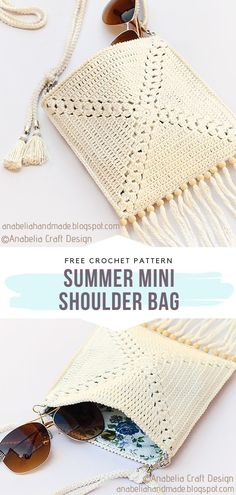 Summer Mini Shoulder Bag Free Crochet Pattern This small bag will be perfect for your summer essentials. Add some details like tassels and beads for that boho style. # knitting skirt pattern free for women Romantic Lacy Bags Free Crochet Patterns Bag Crochet, Crochet Motifs, Crochet Cardigan Pattern, Crochet Books, Basic Crochet Stitches, Crochet Purses, Crochet Basics, Crochet Yarn, Crochet Summer