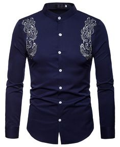 SHEIN offers Men Embroidery Curved Hem Shirt & more to fit your fashionable needs. Stand Collar Shirt, Collar Shirts, Long Sleeve Shirt Dress, Long Sleeve Shirts, Dress Shirts, Casual Shirts For Men, Men Casual, Georgia, Moda Formal