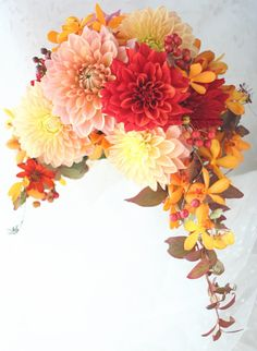 Dahlia of the bouquet The Crescent autumn. To Joel Robuchon. Neutral Wedding Flowers, Cheap Wedding Flowers, Flower Bouquet Wedding, Green Flowers, Love Flowers, Beautiful Flowers, Beautiful Bride, Yellow Bouquets, Floral Bouquets