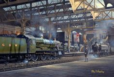 Painting of Snow Hill, Birmingham station Birmingham City Centre, Train Posters, Railway Posters, Holland, Steam Art, Heritage Railway, Old Train Station, Nostalgic Art, Trains