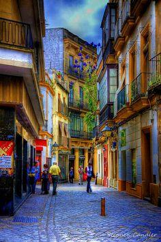 One of the many colourful streets in Jerez de la Frontera, Spain