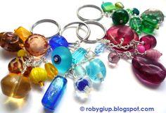 Keyrings in several colours! Perfect as key chain or handbag charm #keyring #handmade #beads #yellow #blue #green #pink