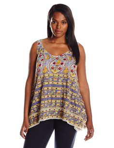 Lucky Brand Women's Plus-Size Woodblock Tank Top * Insider's special review you can't miss. Read more  : Plus size shirts
