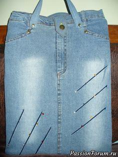 Сумка для ноутбука из джинсовой юбки - запись пользователя Наталья (Наталья) в сообществе Новая жизнь старых вещей в категории Все для дома