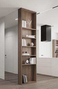 Small Apartment Interior, Apartment Design, Room Interior, Home Design, Shelving Design, Minimalist Living, Interior Inspiration, Living Room Designs, Interior Architecture