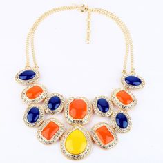 Wing Yuk Tak Collares Collier Newest Fashion Statement Necklaces For Women Europe Hot Sell Candy Colorful Necklace Wholesale  #Affiliate