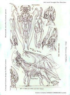 Demons, Aliens and Hellfire by artist Mike Corriero www.MikeCorriero.com - https://www.facebook.com/Creature.Artist