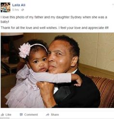 Ali's daughter Laila posted a touching family photograph of her father holding her as a ba...