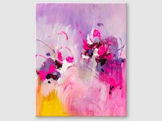 Buy the abstract floral painting online. Modern abstract painting, acrylic colors on canvas.This painting is handmade, original artwork. Pink Painting, Hand Painting Art, Abstract Painting Ideas On Canvas, Small Paintings, Original Paintings, Colorful Abstract Art, Abstract Flowers, Canvas Board, Board Art