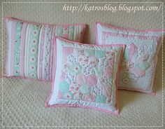 pretty pastel colored pillows handmade by katros
