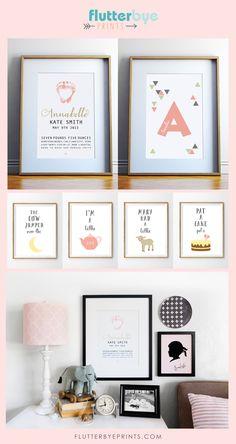 Nursery rhyme, baby footprint and custom name wall art.