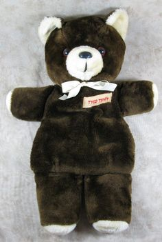 "Vintage 1982 Union Toys 20"" Brown Plush Tyco Teddy Bear Zippered Pajama PJ Bag  #UnionToy"