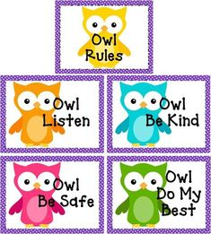 Owl Classroom Rules (current 5th graders would loveee this, as theyre all about owls right now).