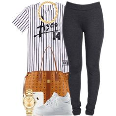 A fashion look from December 2014 featuring NYDJ leggings, NIKE shoes and MCM tote bags. Browse and shop related looks.