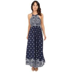 Brigitte Bailey Diem Printed Maxi Dress (Navy/Off-White) Women's Dress ($84) ❤ liked on Polyvore featuring dresses, halter neck maxi dress, navy blue maxi dress, navy dresses, sleeveless dress and halter dress