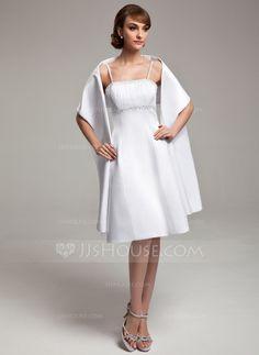 Bridesmaid Dresses - $87.99 - A-Line/Princess Knee-Length Satin Bridesmaid Dress With Beading (007020635) http://jjshouse.com/A-Line-Princess-Knee-Length-Satin-Bridesmaid-Dress-With-Beading-007020635-g20635