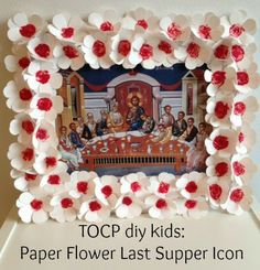 paper flower decorations Mystical (Last) Supper Icon Paper Flower Decor, Flower Decorations, Paper Flowers, Christmas Crafts For Kids, Easter Crafts, Kids Crafts, Sunday School Projects, School Ideas, Holy Friday