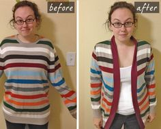 Mens Sweater Refashioned into a Cardigan