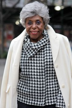 Houndstooth and a White Coat.  95 Years Young - ADVANCED STYLE - What an elegant, beautiful woman!