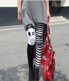 FREE SHIPPING B24 Punk Pirates skeleton Leggings Women's Pants Women's Leggings 2013 New Fashion Type hot sale