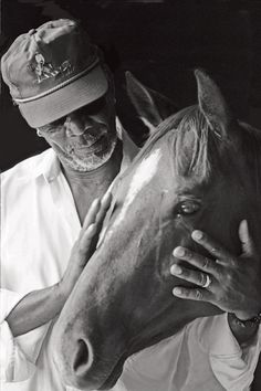 Morgan Freeman  with one of his horses