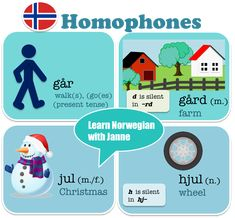 "Words with the same pronunciation, but with different meaning and spelling. In Norwegian we call them ¨homofoner"". Norway Language, Norwegian Words, My Passion, Languages, Spelling, Meant To Be, Traveling, Study, Culture"