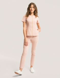 Biker Top in Blushing Pink is a contemporary addition to women's medical scrub outfits. Shop Jaanuu for scrubs, lab coats and other medical apparel. Spa Uniform, Scrubs Uniform, Stylish Scrubs, Scrubs Outfit, Medical Uniforms, Biker, Medical Scrubs, Pink Fashion, Costume
