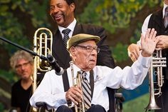 New Orleans' oldest jazz musician, 101-year-old trumpeter Lionel Charles Ferbos at the New Orleans Jazz and Heritage Festival.  He was a contemporary of Louis Armstrong, and is likely the only person alive who was there when Jazz, as we know it, began.  Still plays every Saturday night at the Palm Court in the French Quarter.  Astounding man.
