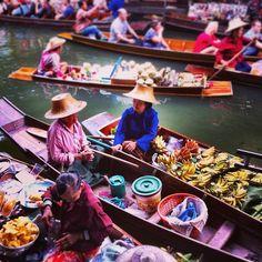 The colorful floating markets of Bangkok. YES.