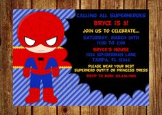 Spiderman Birthday Party Invitation- Digital File- DIY Printable - Any age! Superhero Birthday Invitation on Etsy, $14.00