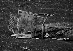 Still Life in Black & White; Shopping Cart on Poquessing Creek's Sandbar at its mouth on the Delaware River at Low Tide. This creek forms the boundary of NE #Philly and Bucks County, PA.