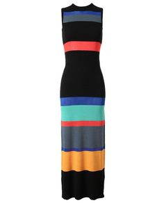 Happy looking yet not frivolous    (via Polyvore; Link: http://www.brownsfashion.com/; OPENING CEREMONY  Colour-blocked Cotton Maxi Dress)