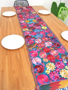 Charming Embroidered Flowered Table Runner Blue, Handmade In Chiapas, Mexico. Mexican  StyleSpanish ...