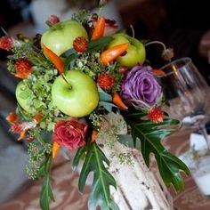 Unique floral arrangement :: flowers & apples!  Peppers!  Lovely!