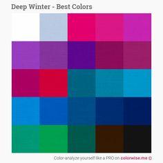 Deep Winter - Care - Skin care , beauty ideas and skin care tips Paleta Deep Winter, Deep Winter Palette, Cool Winter Color Palette, Deep Winter Colors, Deep Autumn, Winter Typ, Dark Winter, Winter Basics, Color Me Mine